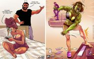 Καλλιτέχνης σκιτσογραφεί τη ζωή με τη γυναίκα του σε χιουμοριστικά comics (1)