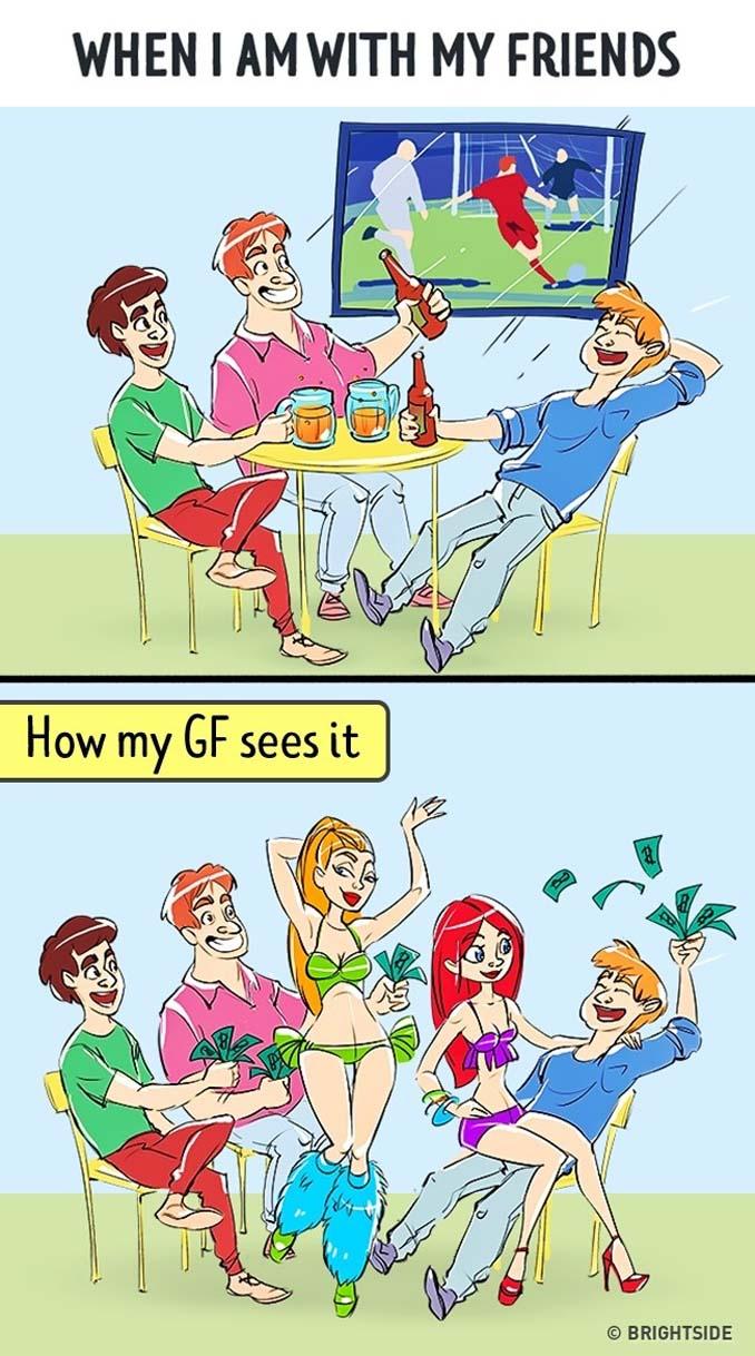 Πώς βλέπει ένας άνδρας τη ζωή του και πως την βλέπει η κοπέλα του (1)