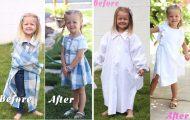 Μαμά φτιάχνει φορέματα για τις κόρες της χρησιμοποιώντας παλιά πουκάμισα του μπαμπά τους