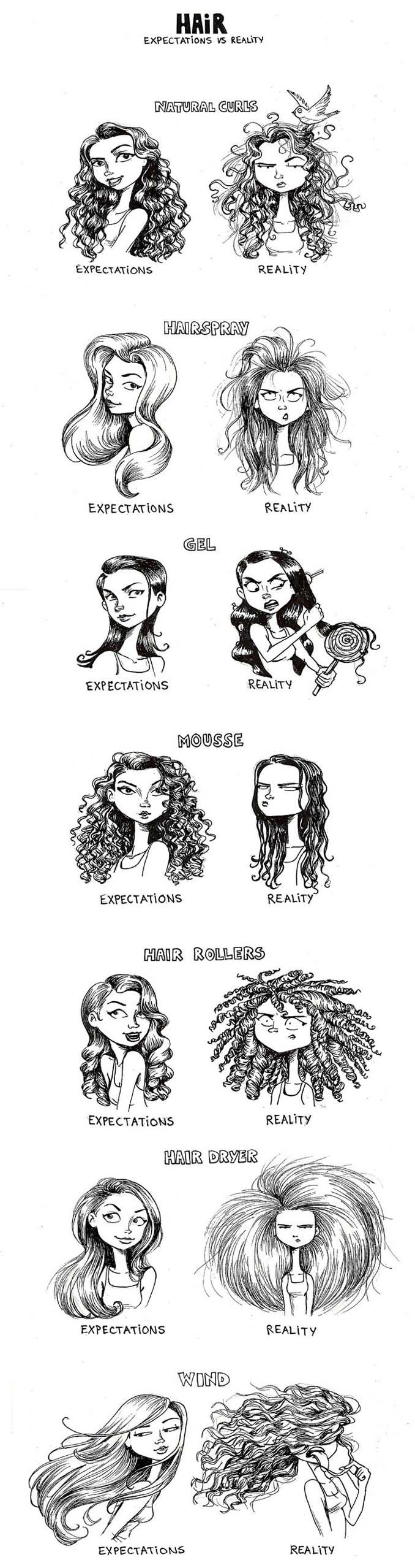 Γυναικεία προβλήματα με τα μαλλιά μέσα από χιουμοριστικά σκίτσα (23)