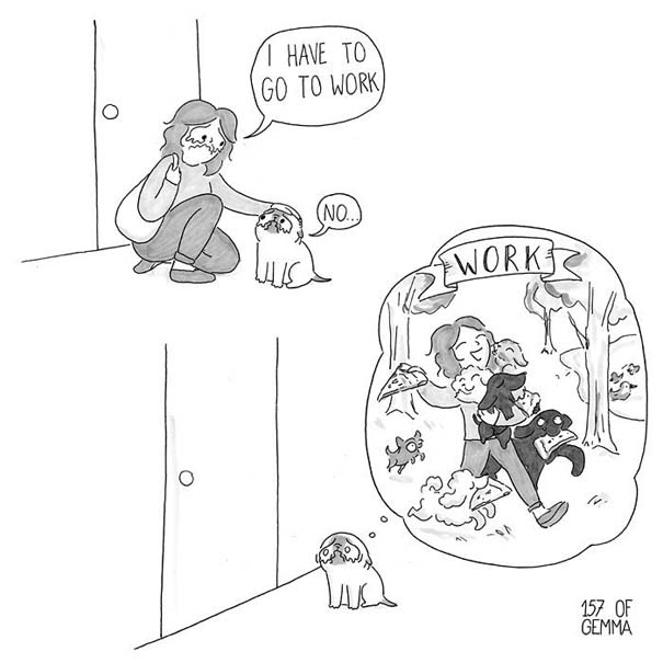 Χαριτωμένα χιουμοριστικά σκίτσα δείχνουν πως είναι να ζεις με έναν σκύλο (3)