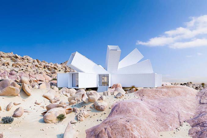 Joshua Tree: Ένα μοναδικό γεωμετρικό σπίτι φτιαγμένο από κοντέινερ (2)