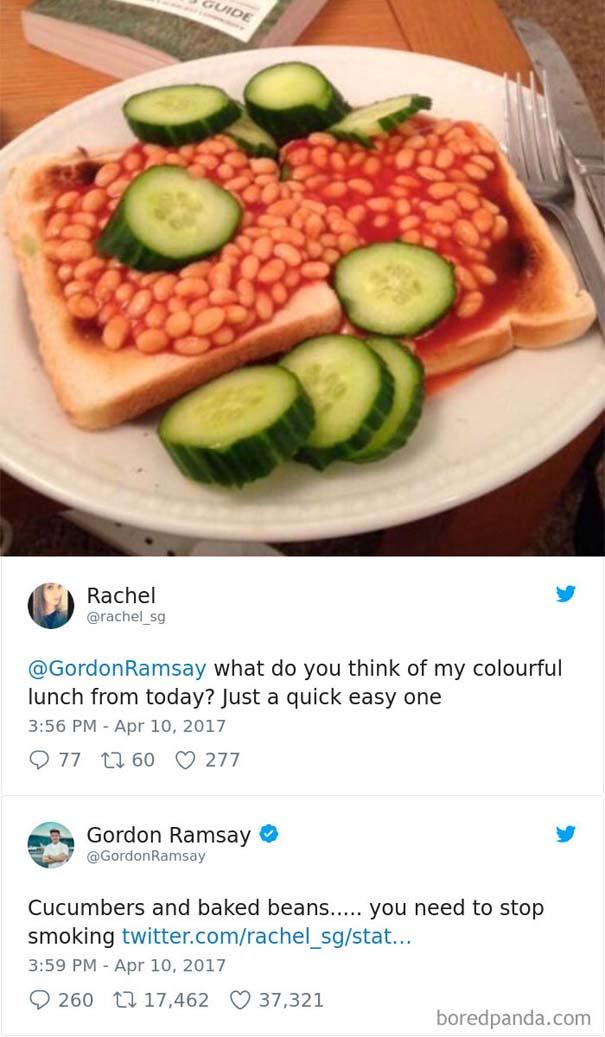 Ερασιτέχνες σεφ τουιτάρουν την μαγειρική τους στον Gordon Ramsay και αυτός τους απαντάει (5)
