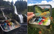 Μικροσκοπικά τοπία ζωγραφισμένα μέσα σε κουτάκια μέντας