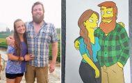 Έκανε έκπληξη στην κοπέλα του ζωγραφίζοντας τους σε 10 διαφορετικά στυλ καρτούν