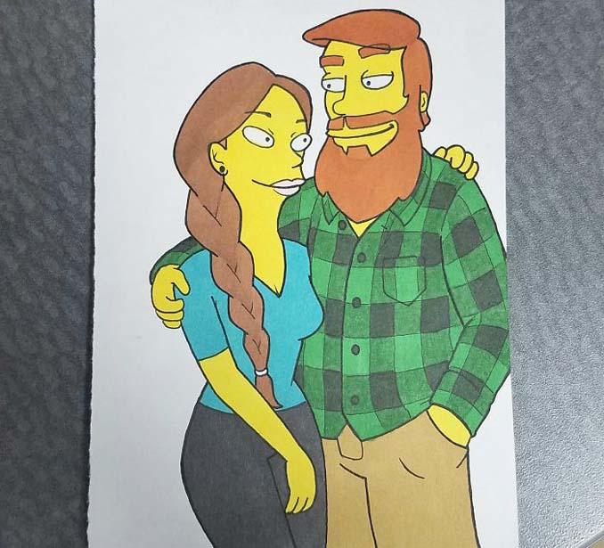 Έκανε έκπληξη στην κοπέλα του ζωγραφίζοντας τους σε 10 διαφορετικά στυλ καρτούν (5)