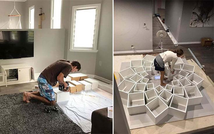Ζευγάρι έφτιαξε μια DIY βιβλιοθήκη που είδε στο Internet και το αποτέλεσμα είναι εκπληκτικό (1)