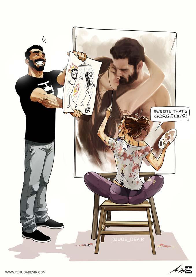 Καλλιτέχνης συνεχίζει να σκιτσογραφεί τη ζωή με τη γυναίκα του σε 15 νέα χιουμοριστικά comics (12)